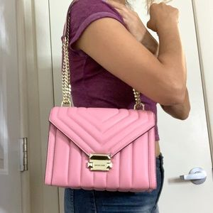 Michael Kors Bags - NWT Michael Kors Whitney Pink Quilted Shoulder Bag